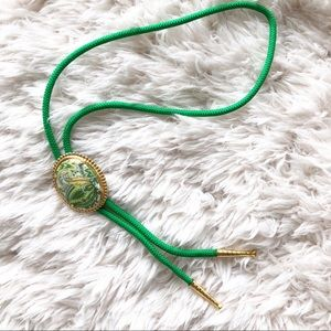 Vintage | Green Gold Paisley Western Cord Bolo Tie
